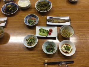 夕食 イワナ・山菜・豆腐
